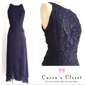 Cachet Navy Lace & Chiffon Long Dress